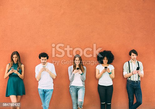 Five people texting seperately