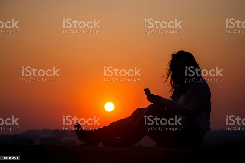 Texting silhouette royalty-free stock photo