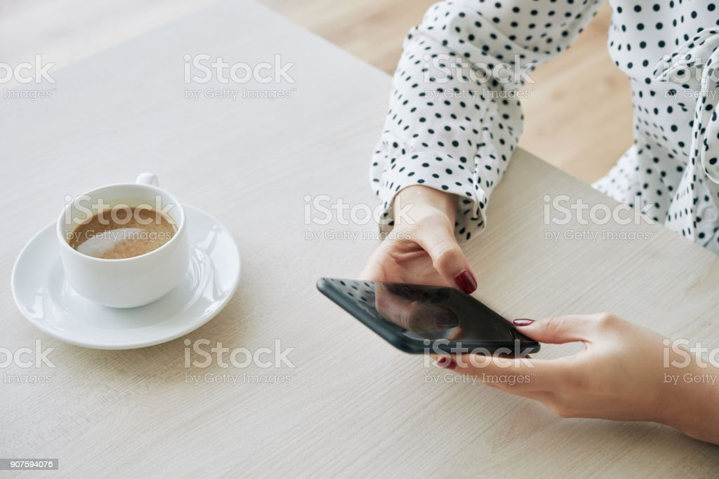 Texting woman stock photo