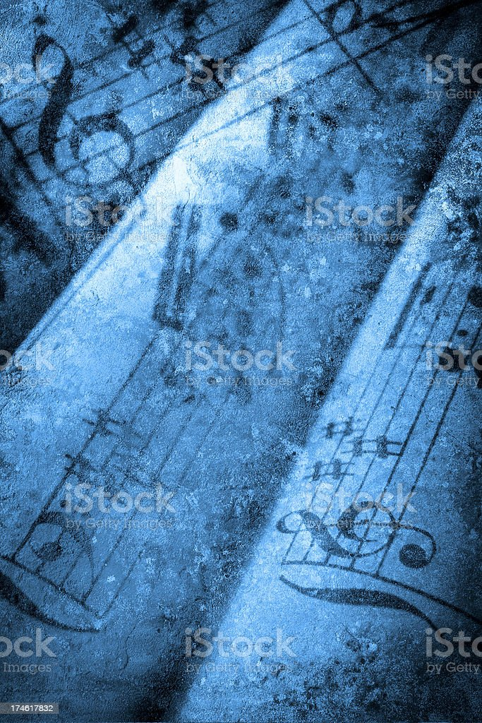 Textural background with musical notes and sheet music. royalty-free stock photo