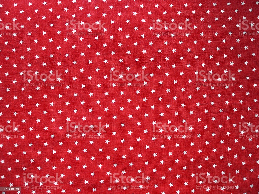 Texture 2 - Red cotton fabric with white small stars stock photo