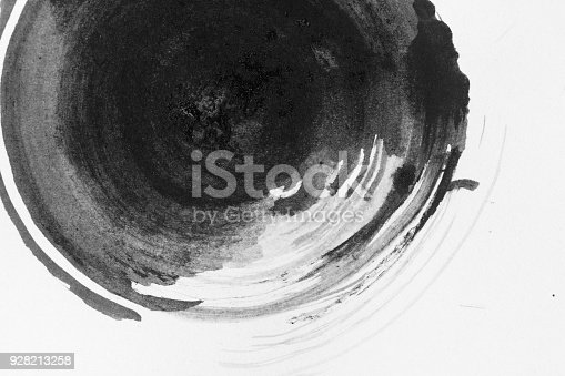 istock Texture abstract background circel ink, black and white. 928213258