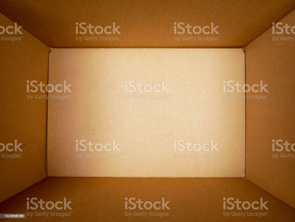 texture background brown paper box , Empty open rectangular cardboard...