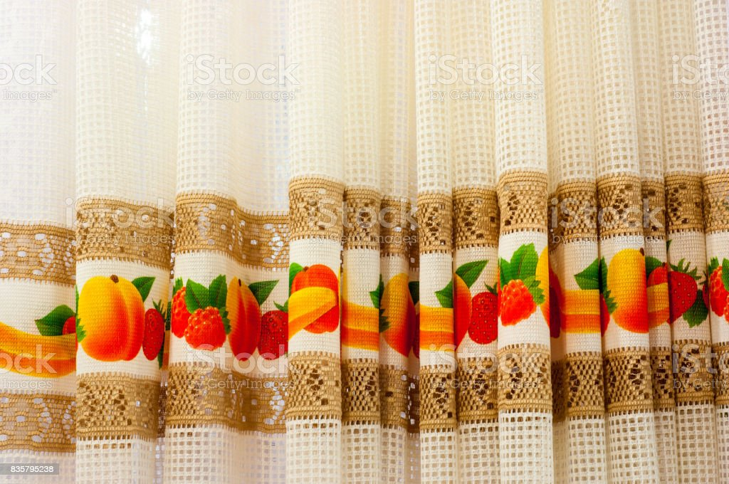 Texture, background, fabric curtains in the kitchen stock photo