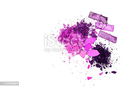 861986852 istock photo Texture background of broken powder blush isolated on white background. Horizontal. Flat lay. Retro neon. Copy space, 1137846654