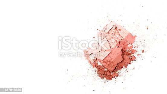 861986852 istock photo Texture background of broken powder blush isolated on white background. Horizontal. Flat lay. Copy space, 1137846656