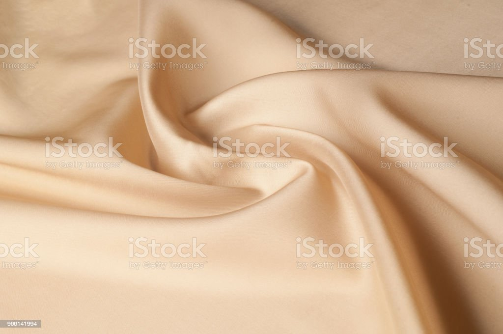 Texture background of fabric. Beige fabric. Silk fabric wallpaper texture background pattern in sepia pastel yellow cream beige tint: Lovely natural silk textured textile - Royalty-free Abstrato Foto de stock