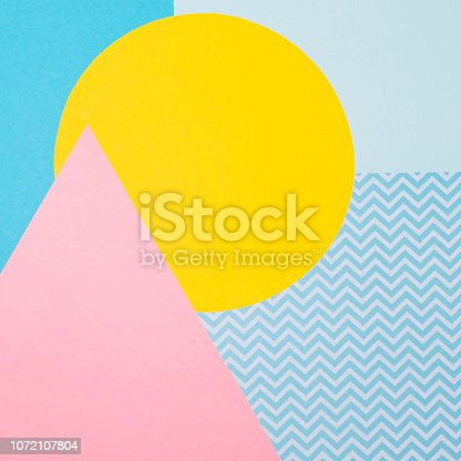 istock Texture background of fashion blue, yellow and purple papers in memphis geometry style. Flat lay, Top view. 1072107804