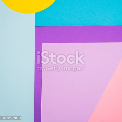 istock Texture background of fashion blue, yellow and purple papers in memphis geometry style. Flat lay, 90s concept 1072107810