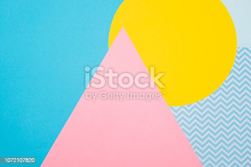 istock Texture background of fashion blue, yellow and purple papers in memphis geometry style. Flat lay, Top view. 1072107820
