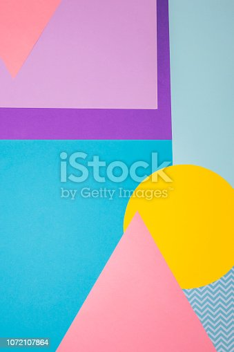 istock Texture background of fashion colorful papers in memphis geometry style. Flat lay, Top view. 80s or 90s concept.Minimalism 1072107864