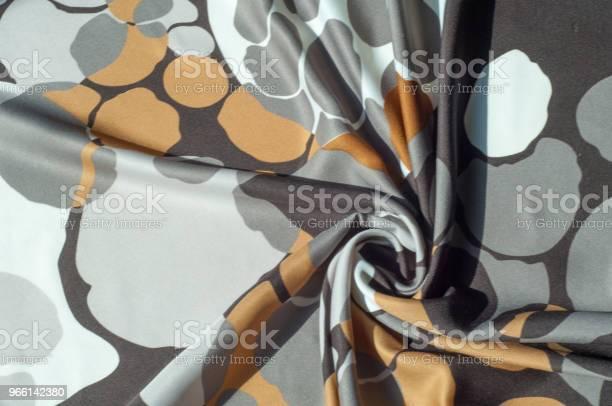 Textur Bakgrund Mönster Abstrakt Mönster På Ett Sidentyg Vit Gul Brun Cirklar-foton och fler bilder på Abstrakt