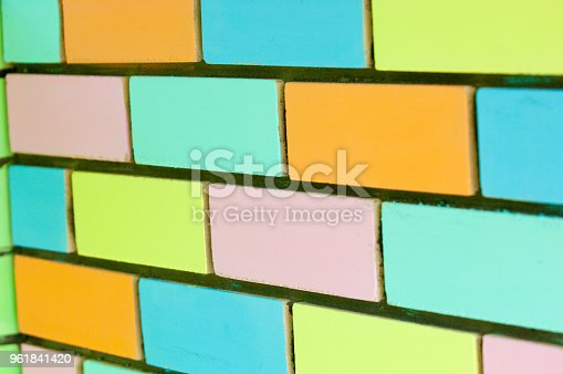 istock Texture background, pattern. Bricks painted with paint 961841420