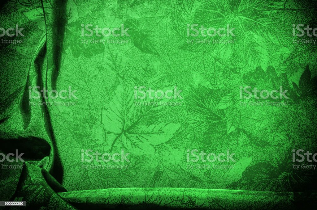 Texture, background, pattern. cloth silk green. This green flower silk crepe de China is here to charge your design! It is a subtle shine when its uplifting drape moves and falls. stock photo