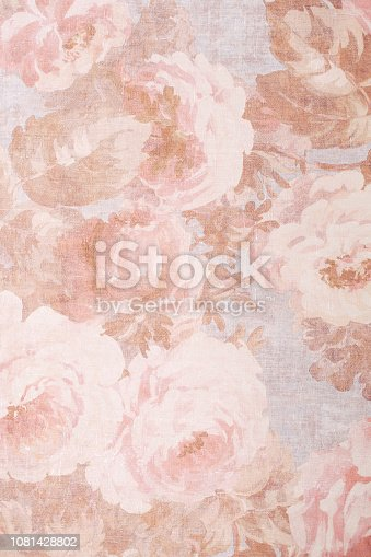 Texture, background, pattern. Fabric silk exquisite colors with peonies. Cabbage Rose Floral Decorator Fabric -Peonies Roses Morning Glories- Pink, Old Rose, Sage Green, Lavender Floral Cottage