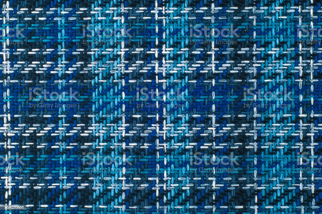 Texture, background, pattern. Furniture fabrics. Cage blue gray black white lines stock photo