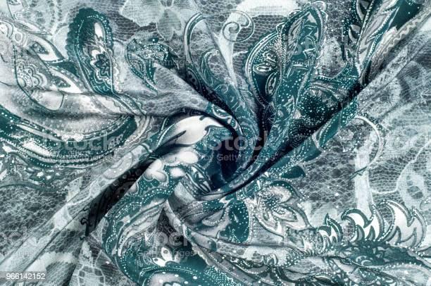 Текстура Фон Рисунок Шелковая Ткань Темносиняя Цветочный Узор На Поле Ткани — стоковые фотографии и другие картинки Абстрактный