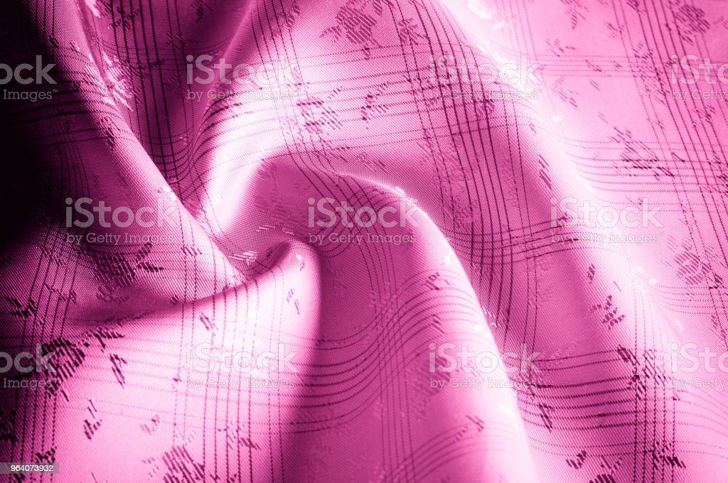 Texture background pattern. Silk fabric is pink, red. Elegant abstract background of abstract fabrics or liquid waves illustration. Close-up black background abstract fabric illustration wavy folds smooth silk texture satin - Royalty-free Abstract Stock Photo