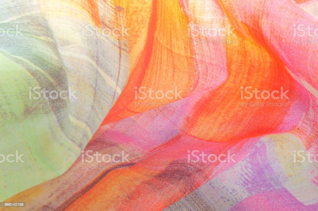 Texture background pattern. Silk thin fabric, abstract pattern of white, green, red, pink and yellow squares - Foto stock royalty-free di Arti e mestieri