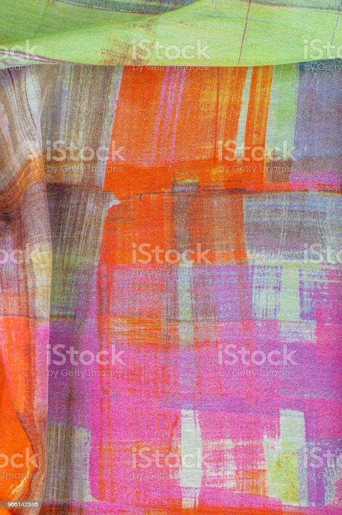 Texture background pattern. Silk thin fabric, abstract pattern of white, green, red, pink and yellow squares - Royalty-free Abstrato Foto de stock