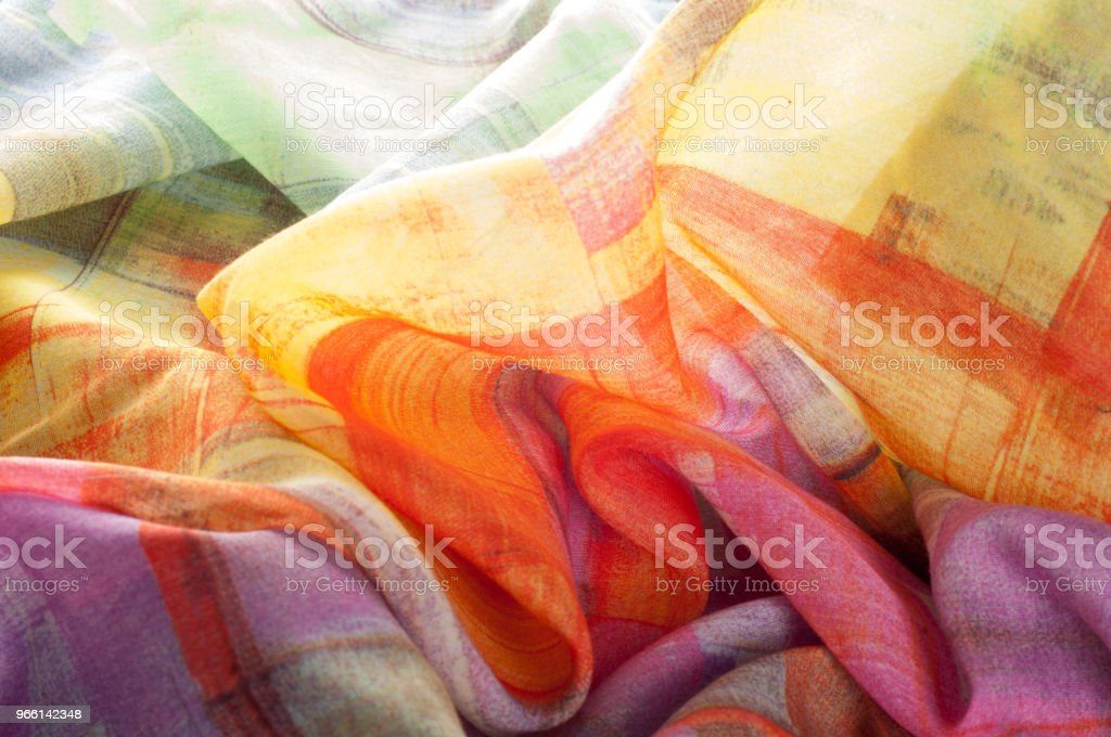 Texture background pattern. Silk thin fabric, abstract pattern of white, green, red, pink and yellow squares - Royalty-free Abstract Stock Photo