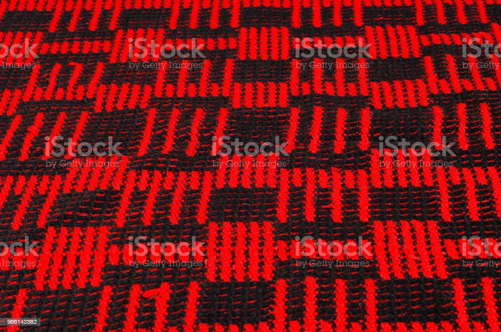 Texture, background, pattern. Soft warm cozy scarf in red cage - Royalty-free Acessório Foto de stock