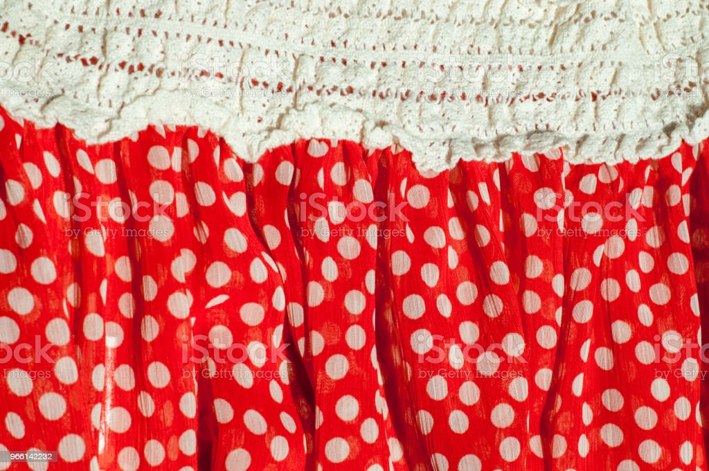Texture, background, pattern. Women's dress. Cotton fabric is red with a green pea - Foto stock royalty-free di Aruba