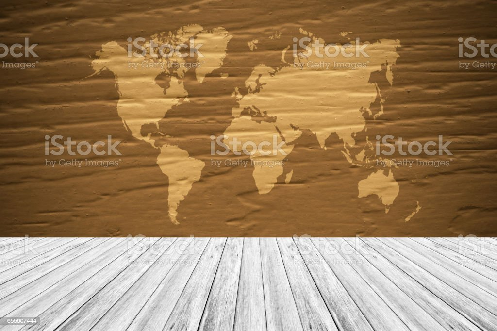 Texture Background With Wood Terrace And World Map Stockfoto und mehr  Bilder von Abstrakt