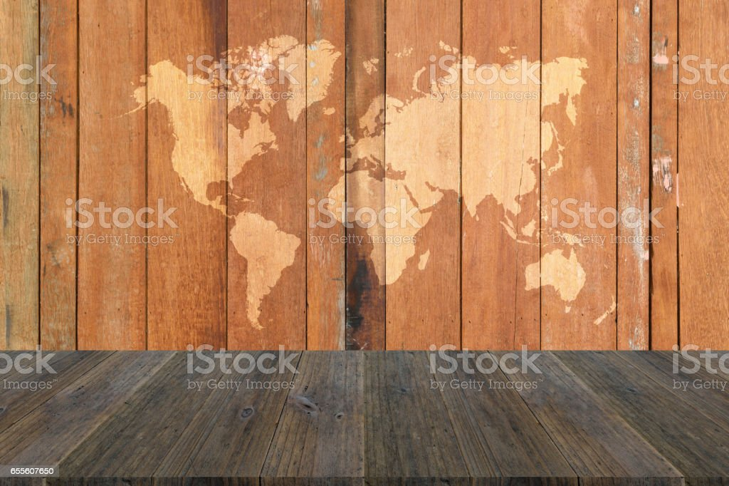 Texture Background With Wood Terrace And World Map Stockfoto und ...