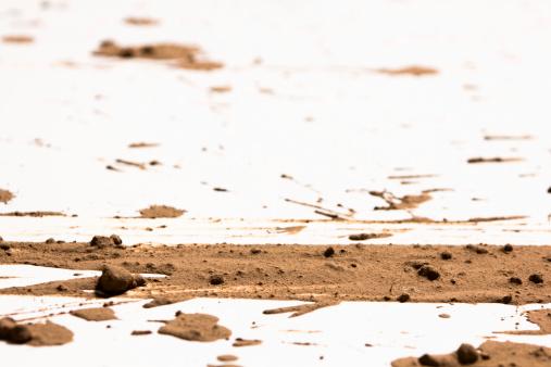 Effect generated by splashing mud on white background.