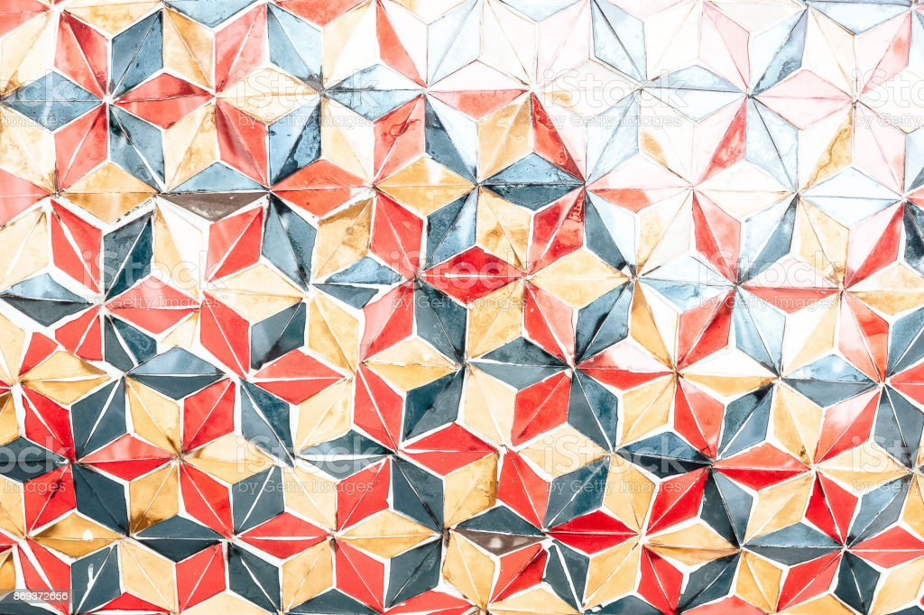 Texture Color triangle wall artwork vintage older handmake style stock photo