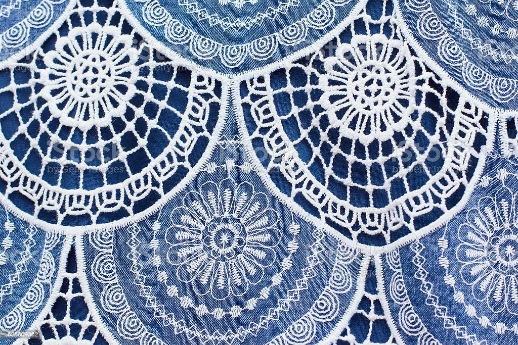 texture Cotton fabric with embroidery, Seamless, Textile stock photo