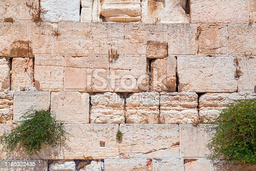 Texture detail from the Western Wall or the Wailing Wall in Jerusalem, Israel