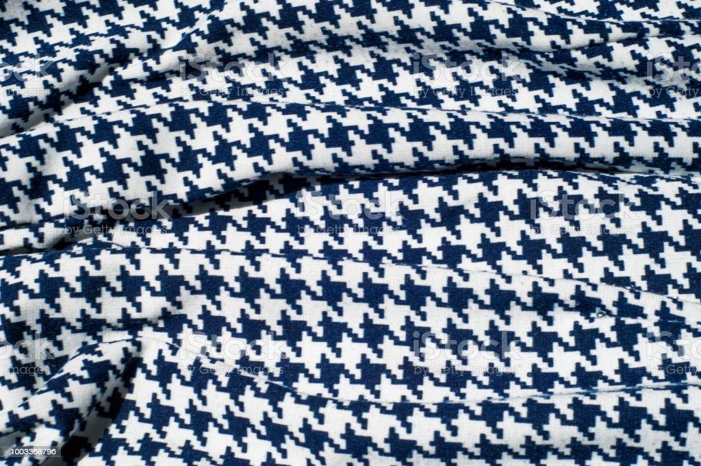 Textur Stoff Hintergrund Stoff Häkelmuster Blaue Raute Auf Weißem ...