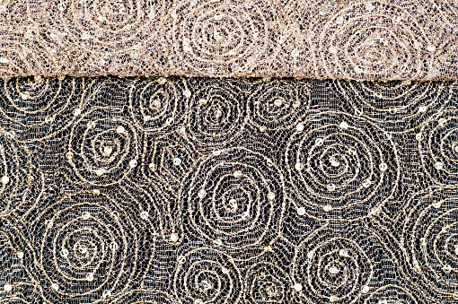 Texture Fabric Background Lace Fabric With A Pattern Of A Circle With A Thread Of Gold Thread Stock Photo - Download Image Now