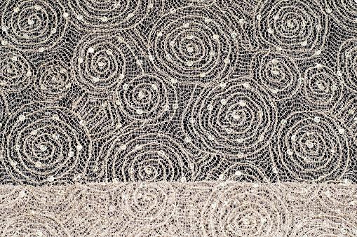 Textur Stoff Hintergrund Spitze Stoff Mit Einem Muster Aus Einem Kreis Mit Einem Faden Von Goldfaden Stockfoto und mehr Bilder von Abstrakt