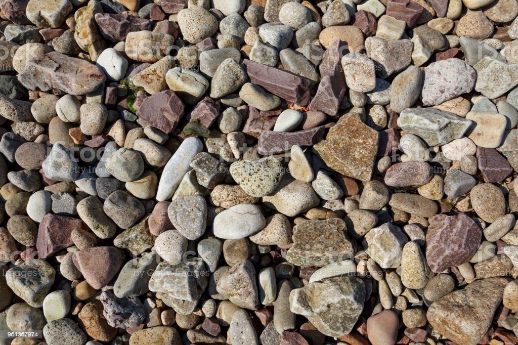 Textuur afbeelding van zee keien en rotsen, van bovenaf. - Royalty-free Abstract Stockfoto
