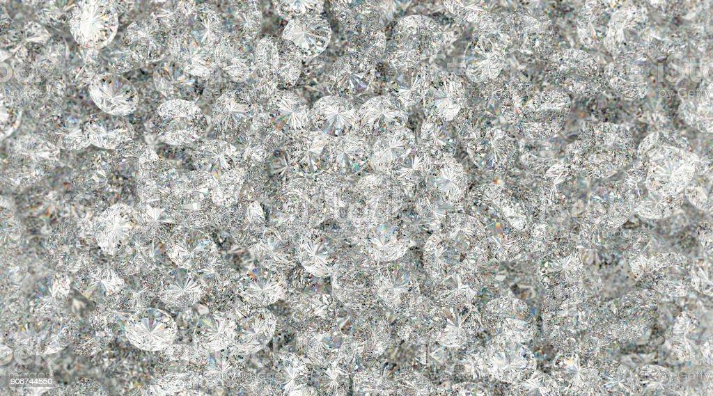Textur, viele Diamanten isoliert auf weißem Hintergrund – Foto