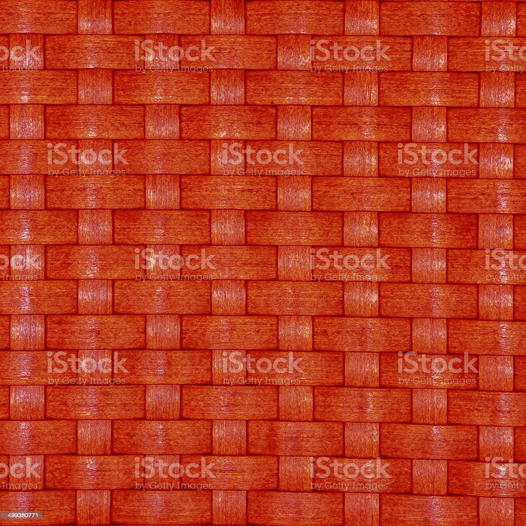 Texture of a red wicker basket weave