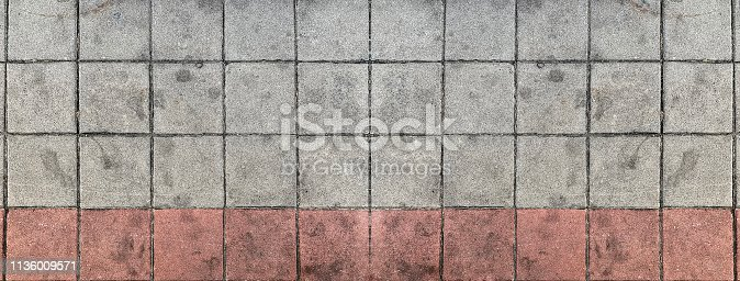 Texture of aged concrete floor with many square bricks