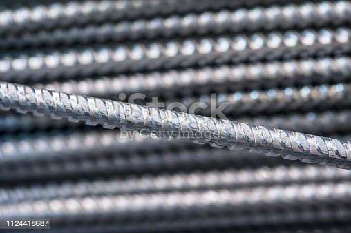 istock Texture of aluminum wire for armor rod cable. Abstract background 1124418687