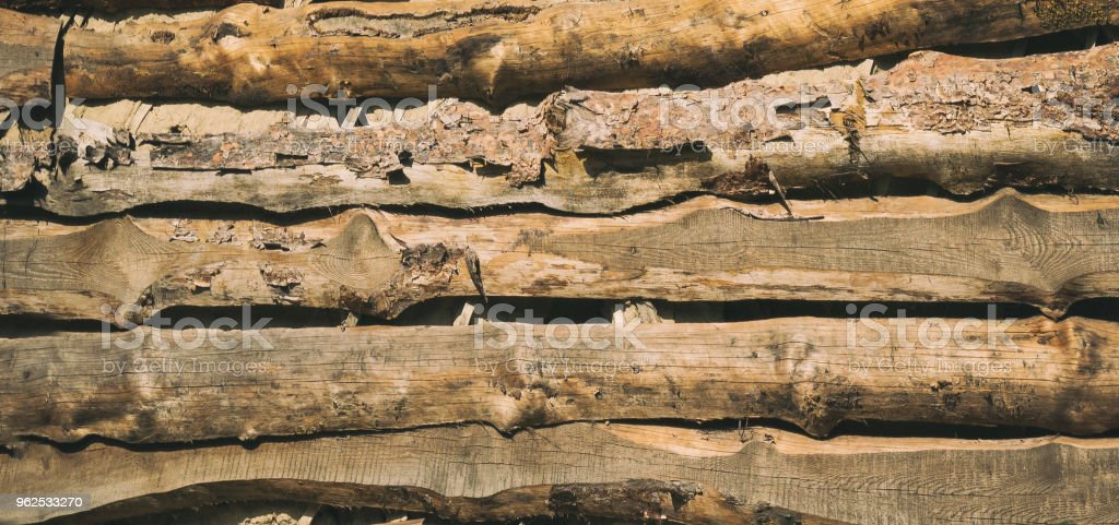 Texture of an old wooden wall. Background - Royalty-free Antique Stock Photo