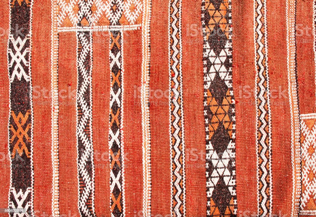 Texture of berber traditional wool carpet, Morocco, Africa stock photo
