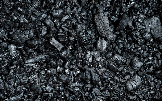 texture of black burnt coal with wooden logs, full frame, various pieces