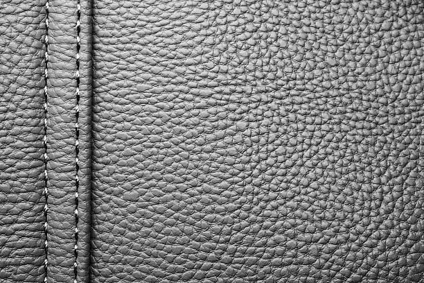 Textur aus schwarzem Leder mit schwarzer Naht – Foto