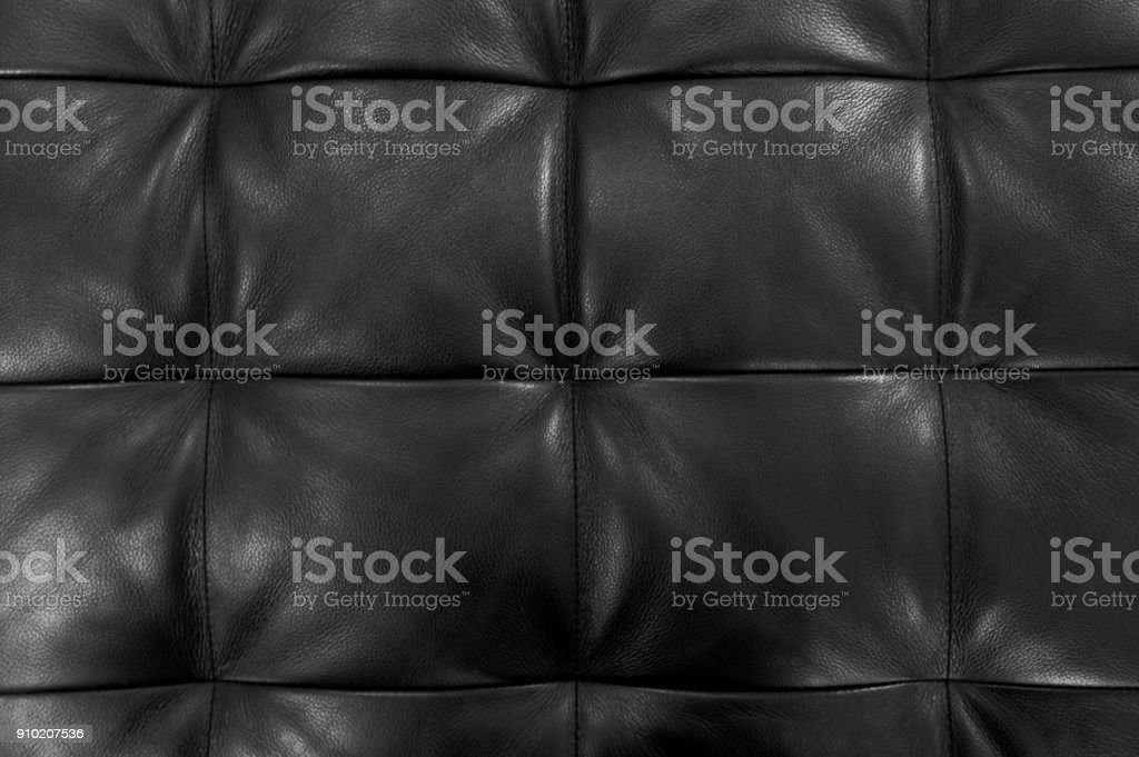Texture Of Black Upholstery Leather Pattern Background Stock Photo