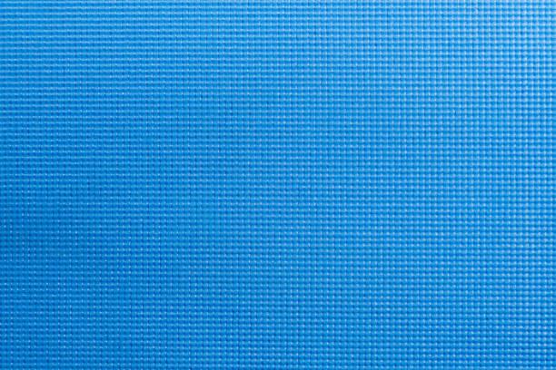 Textur der blauen Farbe Yoga Matte Textur. Yoga-Matratze-Draufsicht – Foto