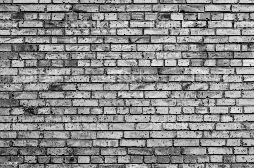 Texture of brick wall black and white stock photo