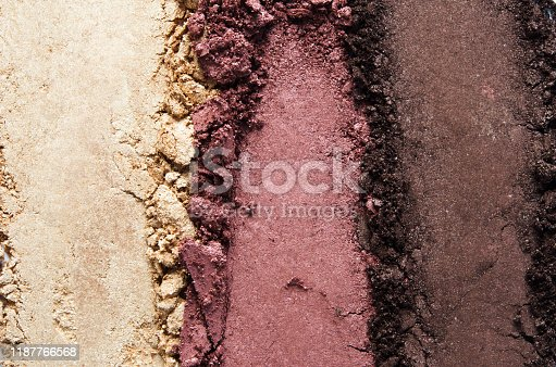 Texture of broken eyeshadow or powder. The concept of fashion and beauty industry. Close-up. - Image