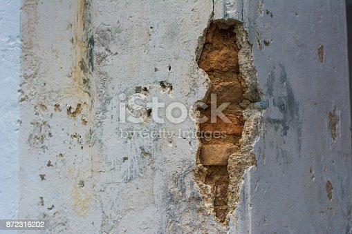 istock Texture of Broken on Brick wall. 872316202